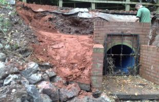 Spill way dam repairs at Sling pool Clent
